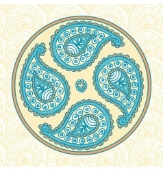 Blue Paisley Flover Doodle vector image