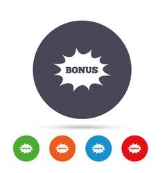 bonus sign icon explosion cartoon bubble symbol vector image