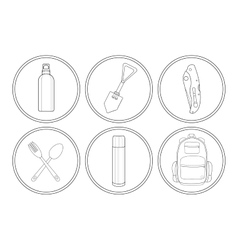 Camping linear icon set vector