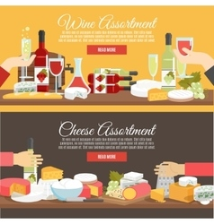 Cheese and wine flat banner set vector
