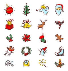 Christmas minimalistic icons vector image vector image
