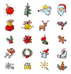 Christmas minimalistic icons vector image