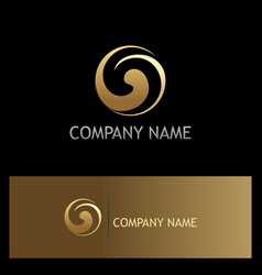 circle gold swirl gold logo vector image