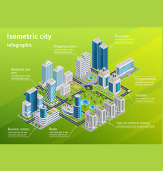 city infrastructure isometric infographics vector image vector image