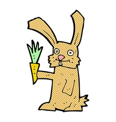 Comic cartoon rabbit with carrot vector
