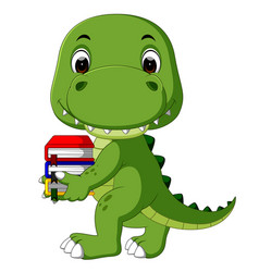 cute crocodile carrying book vector image vector image