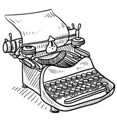 Doodle typewriter vector