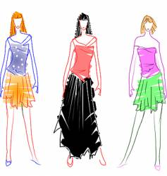 fashion design sketches vector image vector image