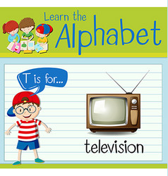 Flashcard letter T is for television vector image vector image