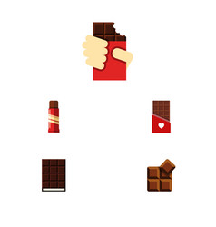 Flat icon chocolate set of dessert cocoa sweet vector