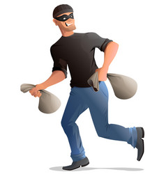 Man robber in mask runs with bags vector