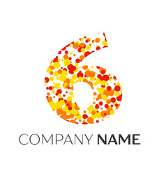 Number six with orange yellow red particles vector