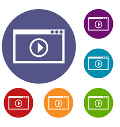 program for video playback icons set vector image