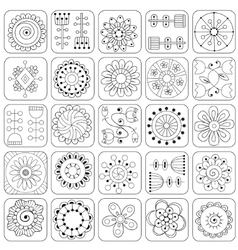 Seamless pattern Sampler doodle flowers leaves vector image vector image