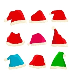 Set of bright Santa Claus hats on Christmas and vector image vector image