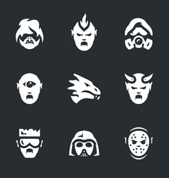 set of post-apocalypse characters icons vector image