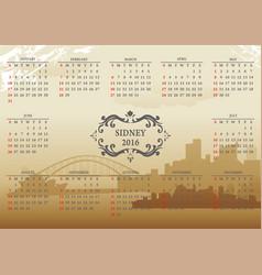 sidney calendar vector image vector image