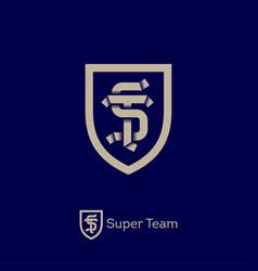 super team logo sport team emblem s and t letters vector image vector image