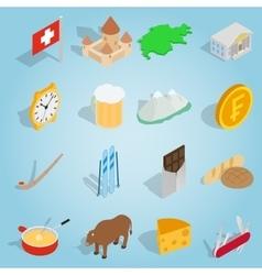 Switzerland set icons isometric 3d style vector image vector image
