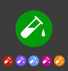 test tube glass icon flat web sign symbol logo vector image vector image