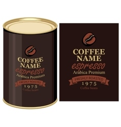 Tin can with label of coffe beans vector