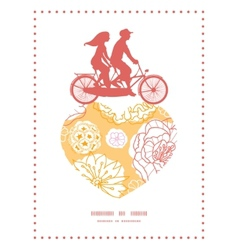 Warm day flowers couple on tandem bicycle heart vector