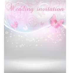 wedding invitation with butterflies vector image vector image