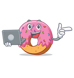 With laptop donut character cartoon style vector