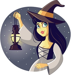 Beautiful halloween witch holding lantern vector