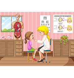 Doctor examining little girl in clinic vector