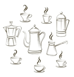 Coffee sketch collection vector