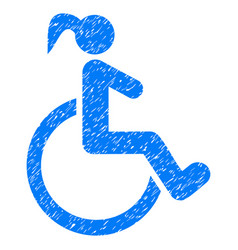 Disabled woman grunge icon vector