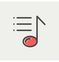 Musical note with bar thin line icon vector