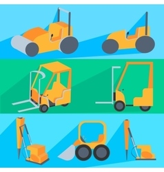 Set flet construction machinery roller-stacker vector