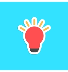 Red bulb icon sticker isolated on blue background vector