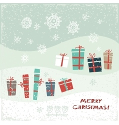 Vintage christmas card with gifts and snowflakes vector