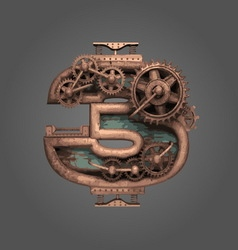 3 rusted letter with gears vector