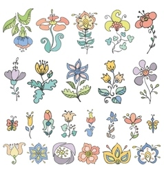Doodles hand drawn stylized flowersbuds set vector