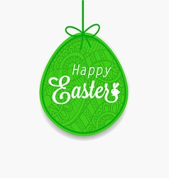Happy easter green egg with ribbon and bow for vector