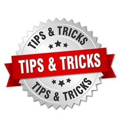 Tips tricks 3d silver badge with red ribbon vector