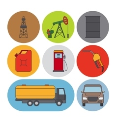 Oil industry flat line icons vector