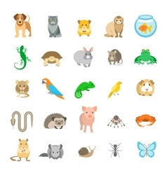 Animals pets flat colorful icons set vector