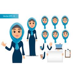 Arabic woman constructor set cute businesswoman vector