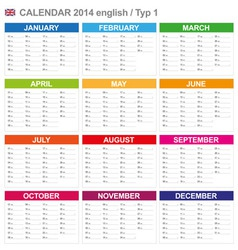 Calendar 2014 English Type 1 vector image vector image