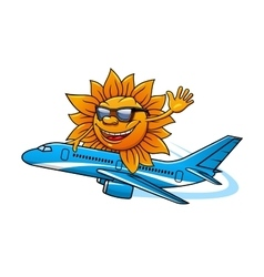 Cartoon sun in sunglasses flying on airplane vector image vector image