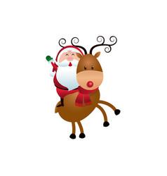 Christmas santa claus riding reindeer cartoon vector