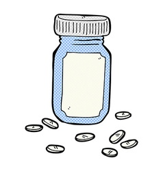 Comic cartoon jar of pills vector