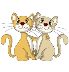Cute ouple cat in friendship vector
