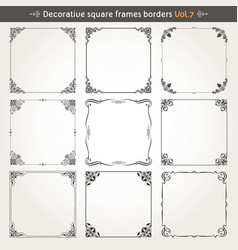 decorative square frames and borders set 7 vector image
