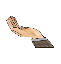 drawing hand man support help icon vector image